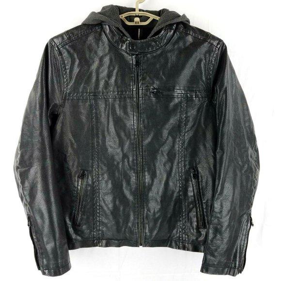 Levis Black Faux Leather Sherpa Lined Sweatshirt Hoodie Trucker Jacket Medium